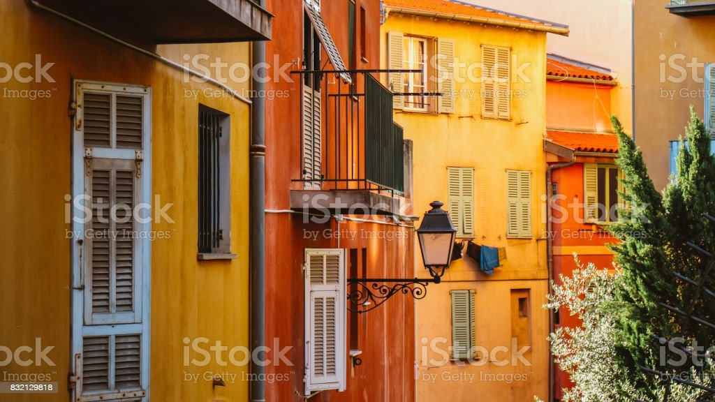 Old Yellow Wall in Marseille,France An old yellow wall at the old town of Marseille, France. Alley Stock Photo