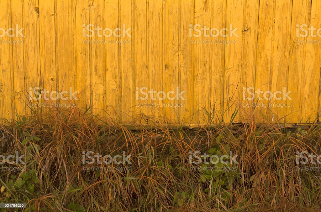 Old yellow wooden house and faded grass. stock photo