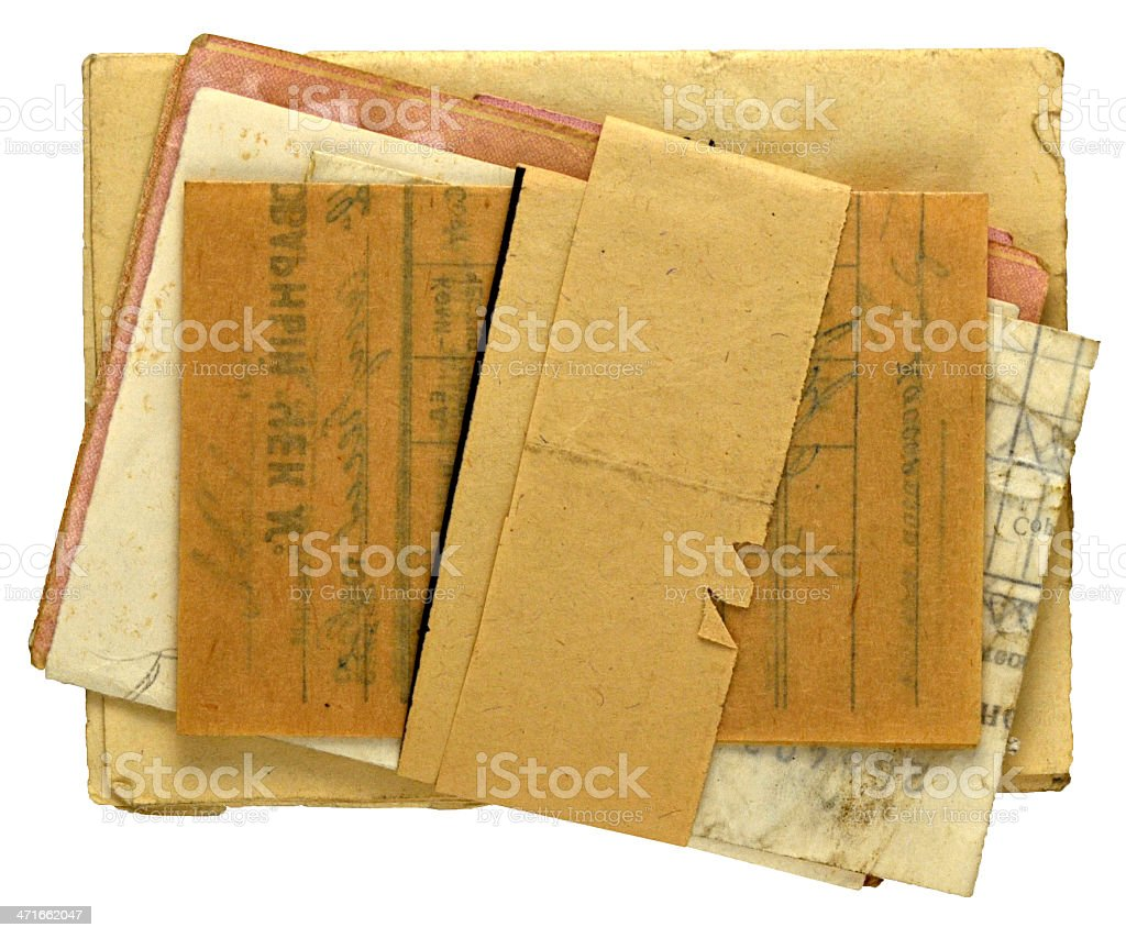old yellowed documents stock photo