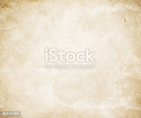 istock Old yellowed paper texture. 624101832
