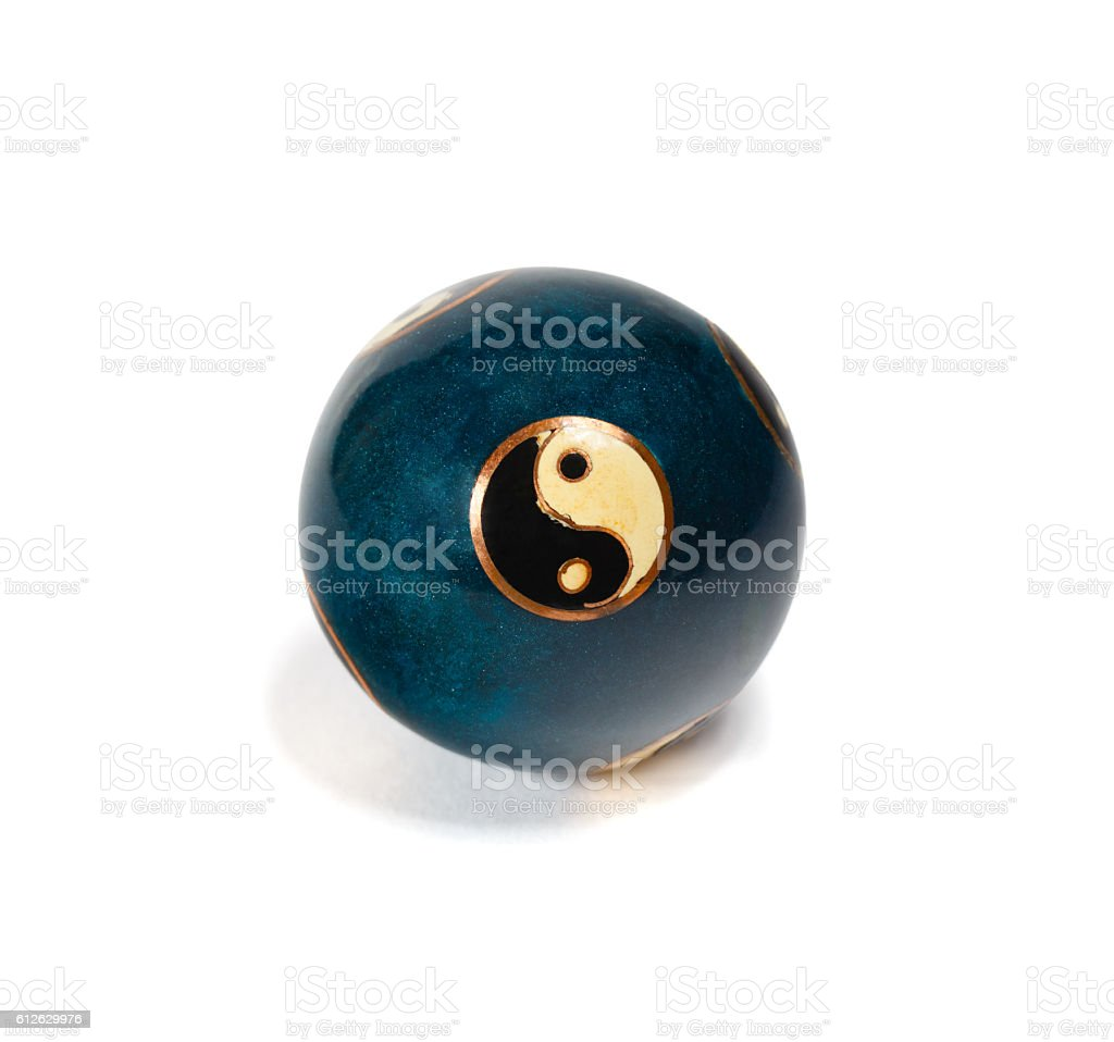 Old yin yang chinese ball for relaxation stock photo