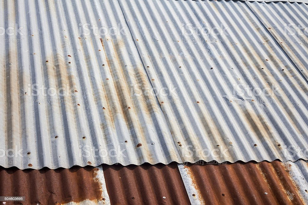 old zinc roof stock photo