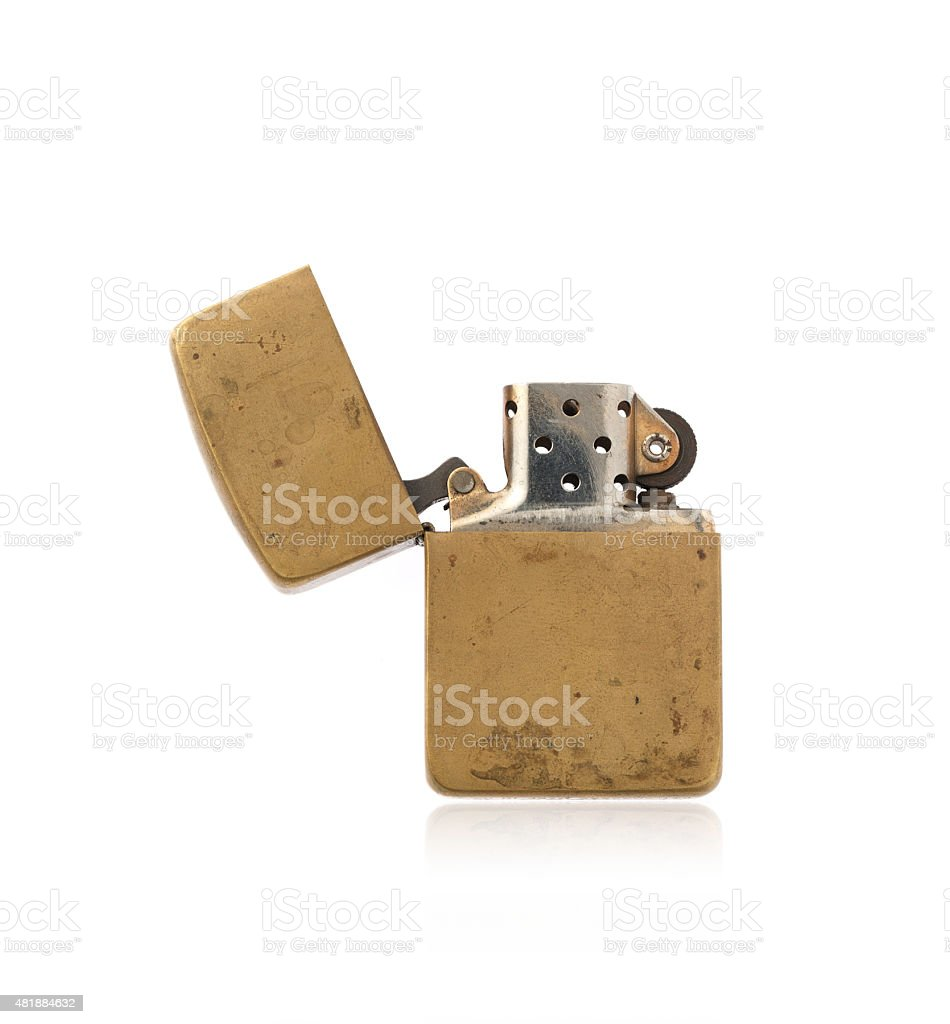Old zippo Lighter On a White Background stock photo