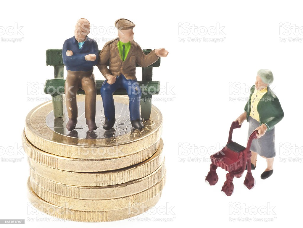 old-age pension - Rentner auf Bank stock photo