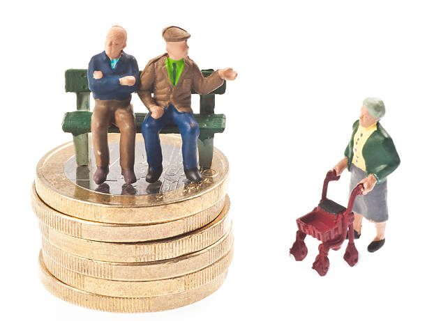 old-age pension - rentner auf bank - figurine stock photos and pictures