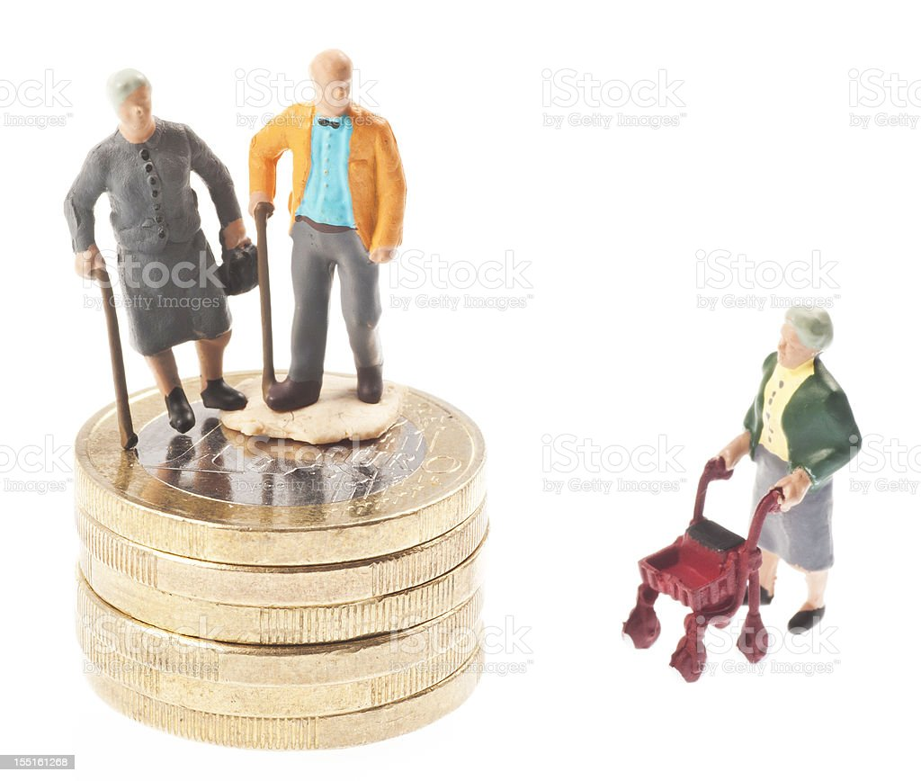 old-age pension with money - Rentner auf euro coins royalty-free stock photo