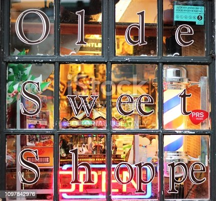 Penarth Pier, Wales, UK - January 19, 2019: Looking at the Olde sweet shoppe window display.