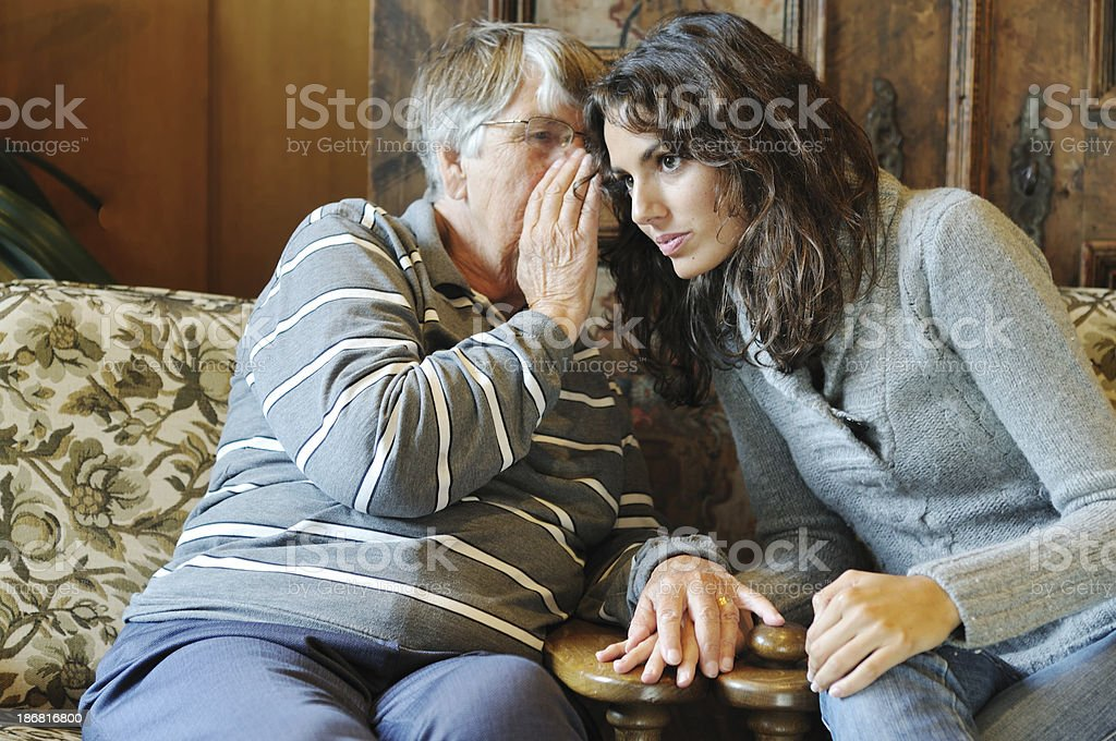 Older and younger women share confidence stock photo