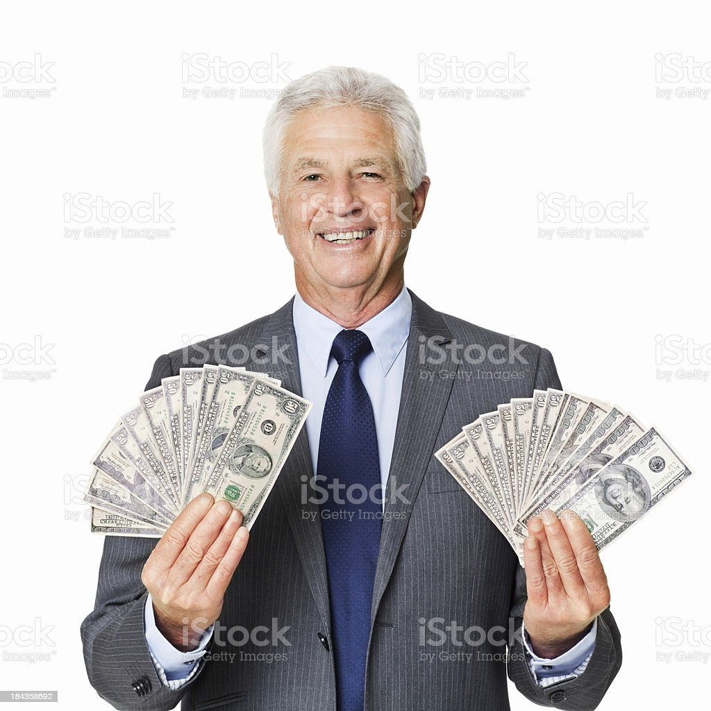 Older Businessman Showing Off His Wealth - Isolated royalty-free stock photo