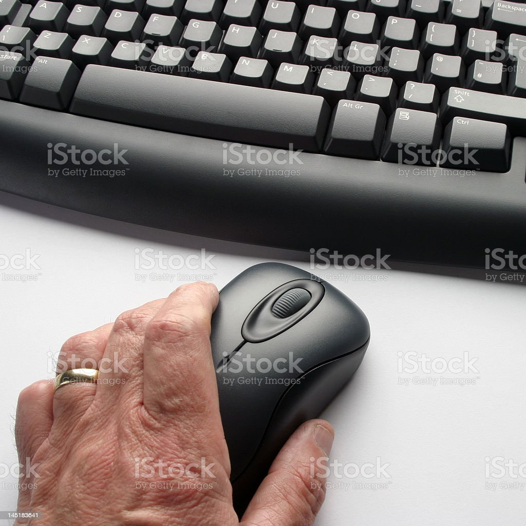 Older computer user royalty-free stock photo