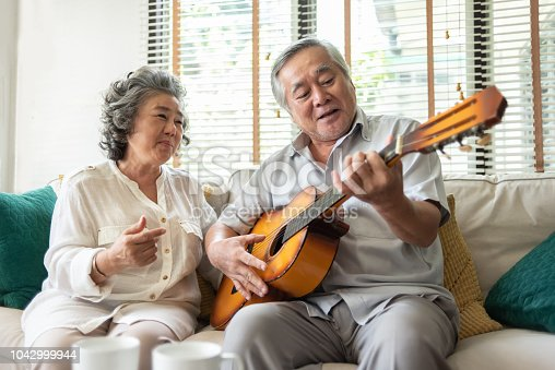 istock Older Couple enjoying with singing and guitar. 1042999944