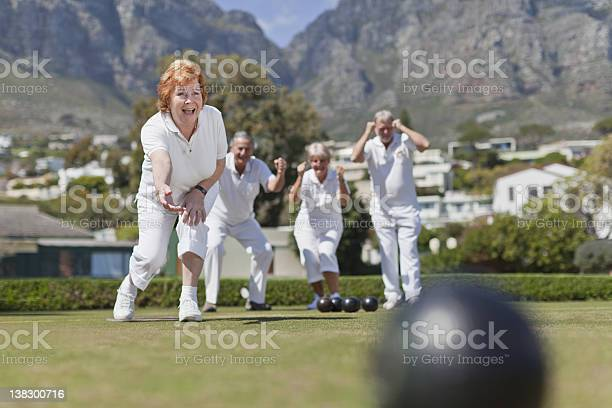 Photo of Older couples playing lawn bowling
