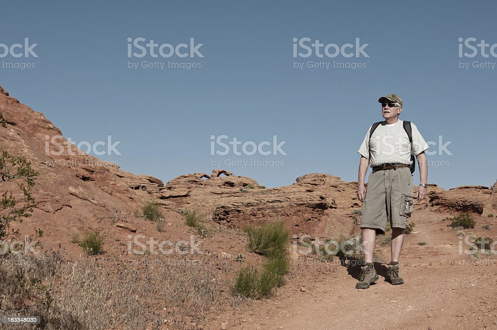 Older man on a hike in Utah - I stock photo