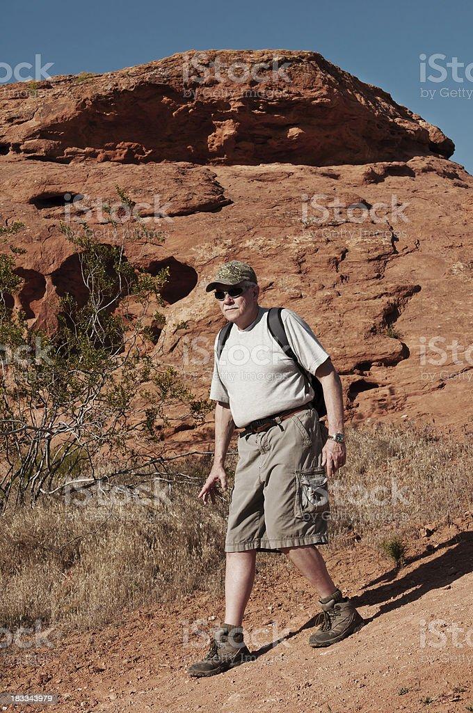 Older man on a hike in Utah - IV stock photo