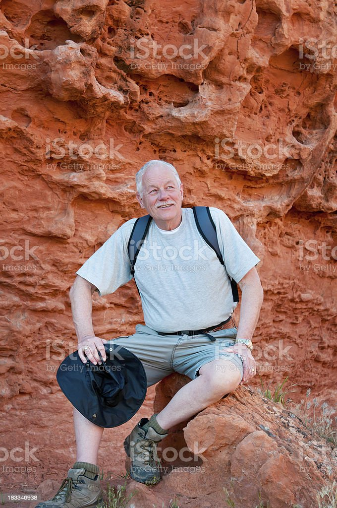 Older man on a hike in Utah - V stock photo