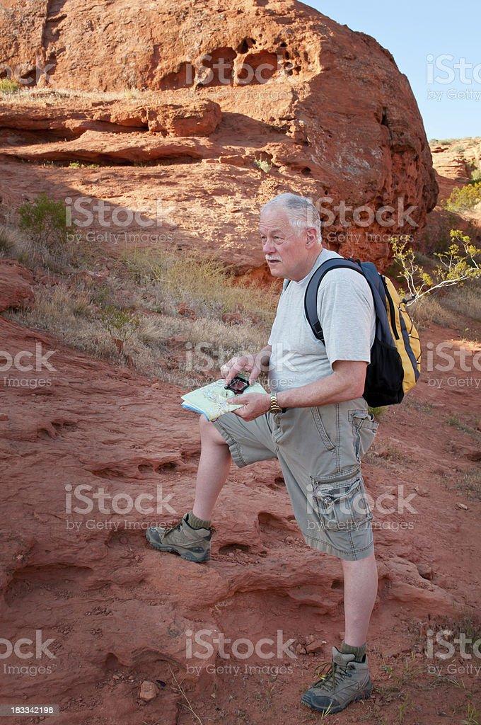 Older man on a hike in Utah - VII stock photo