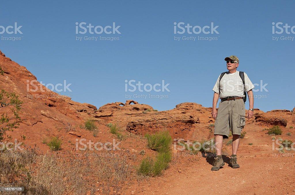 Older man on a hike in Utah - VIII stock photo
