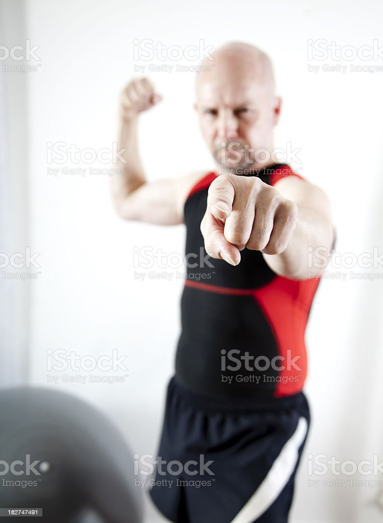 Older man's intimidating point royalty-free stock photo