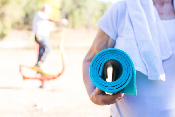 older people doing sport, active retirement - runner rehab gym foto e immagini stock
