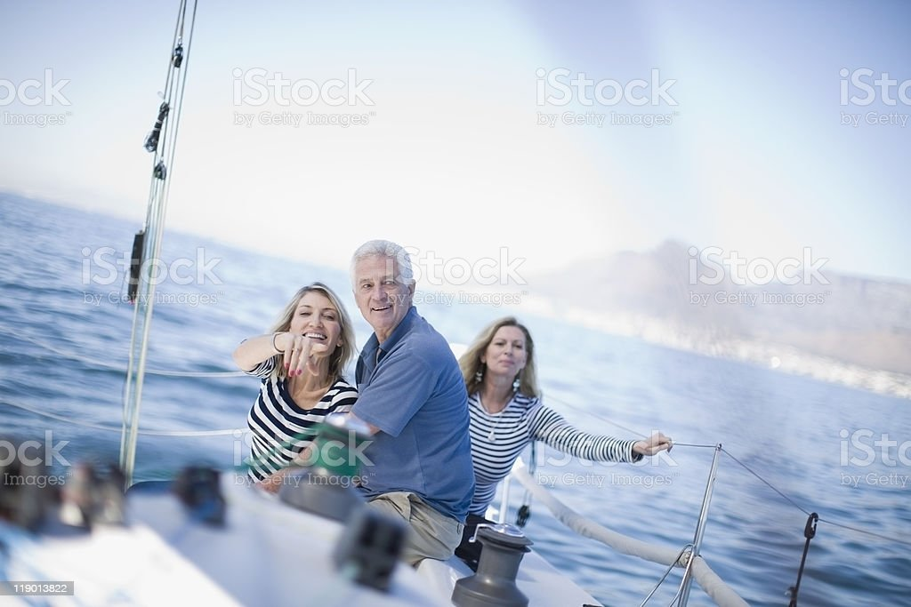 Older people sitting together on boat stock photo