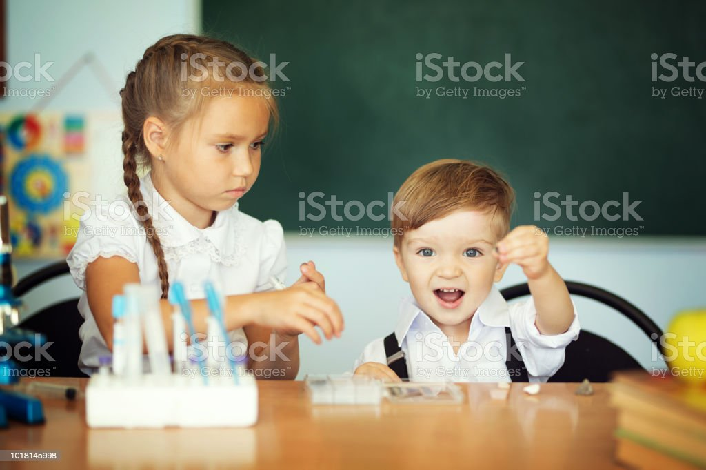 Older Sister Helps Her Younger Brother With A Homework Stock Image