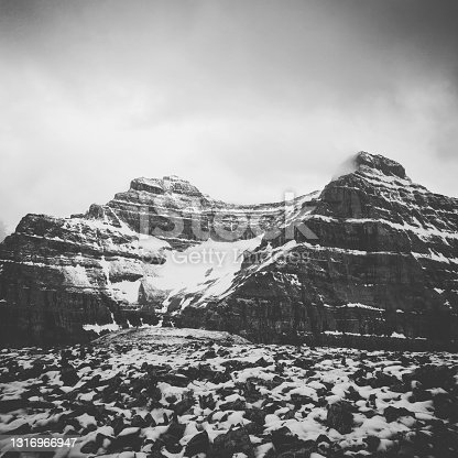 A late winter shot of Whyte and Niblock Mountain from Agnes tea hut, Lake louise Alberta