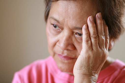 istock Older woman worried about the future 123926066