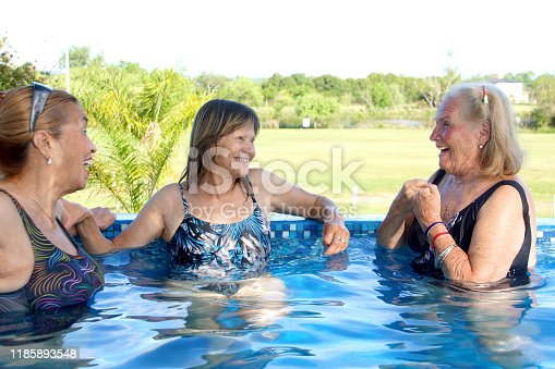 612839448 istock photo older women in the pool 1185893548