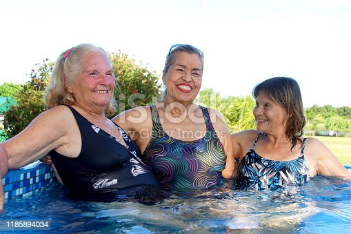612839448 istock photo older women in the pool 1185894034