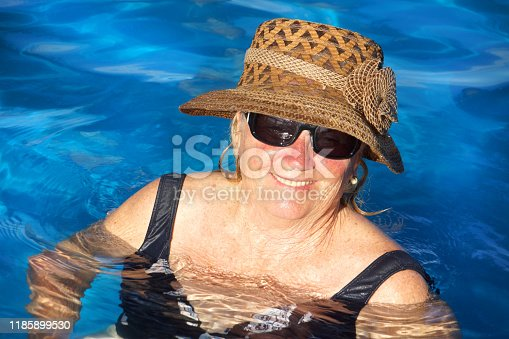 612839448 istock photo older women in the pool 1185899530