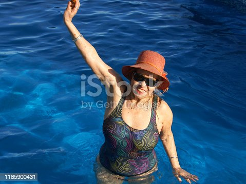 612839448 istock photo older women in the pool 1185900431