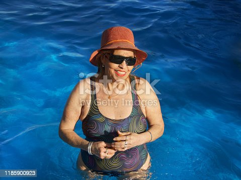612839448 istock photo older women in the pool 1185900923