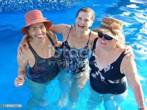 612839448 istock photo older women in the pool 1185902199