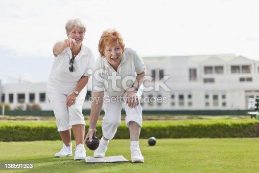 istock Older women playing lawn bowling 136591923
