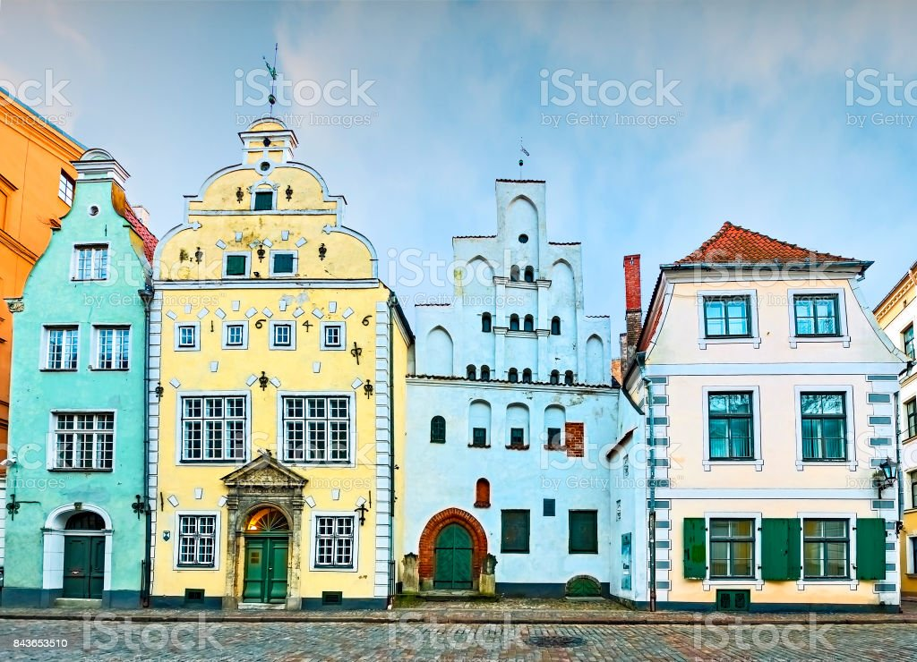Oldest buildings in ancient part of European city stock photo