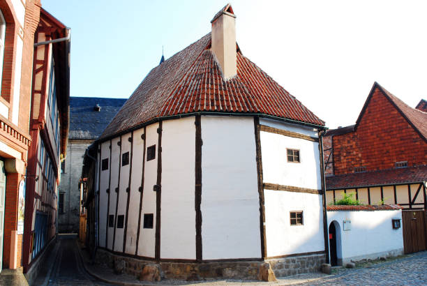 Oldest half timbered medieval house in Quedlinburg. stock photo
