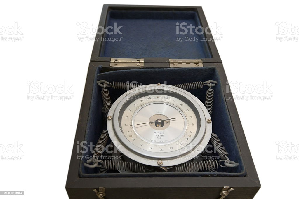 oldest scientific barometer in box isolated on white background stock photo