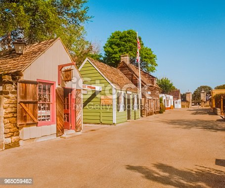 The oldest wood school house in the USA, St. Augustine Florida, old schoolhouse with village