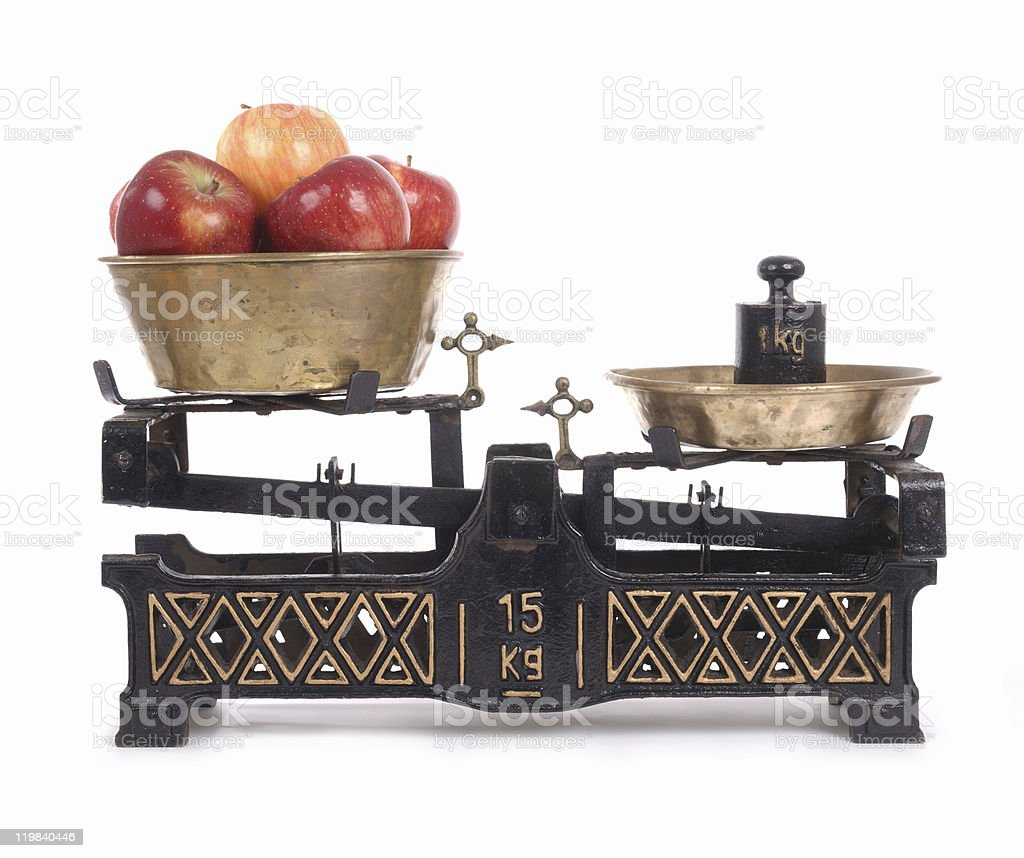 Old-fashioned balance scale stock photo