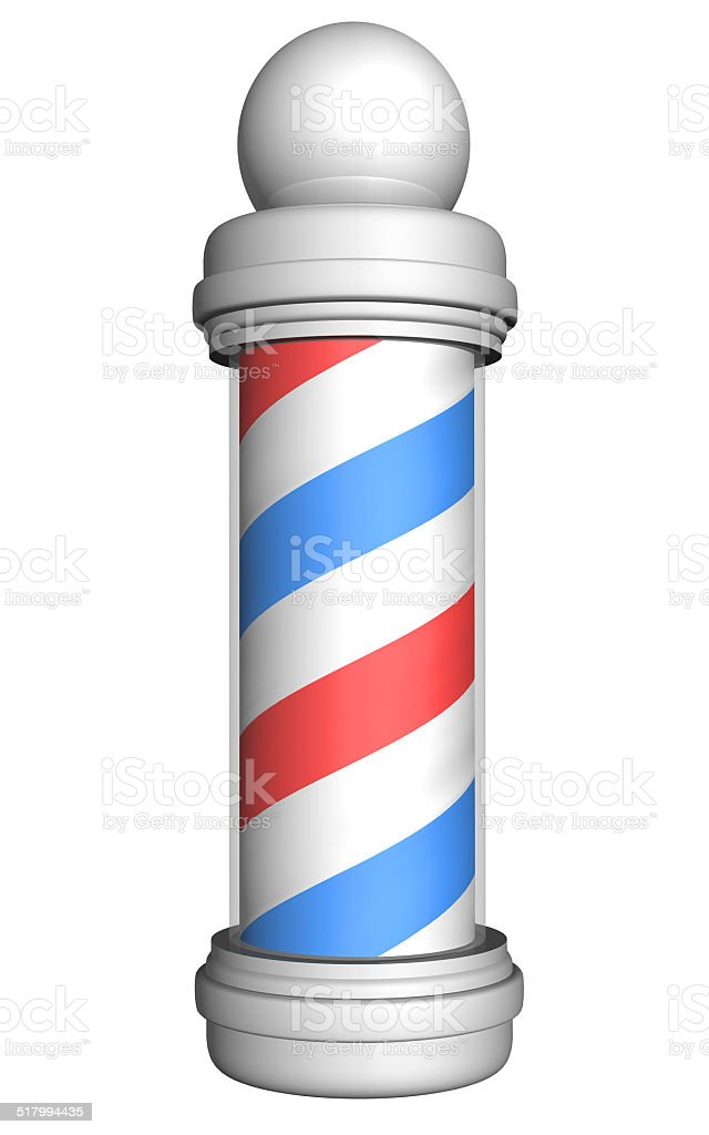 Old-fashioned barber pole with red, white, and blue stripes stock photo