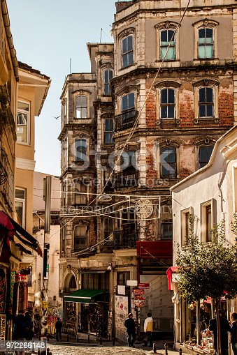 Istanbul, Turkey - January 9, 2016: A historic street in Galata in Istanbul. The buildings in this street are old but very beautiful. This is near the Galata tower.