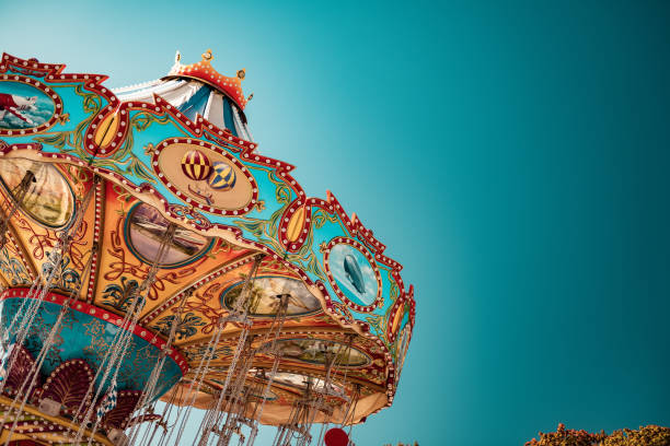 Old-Fashioned Chairoplane, Chain Swing Ride at Munich's Oktoberfest, Germany stock photo