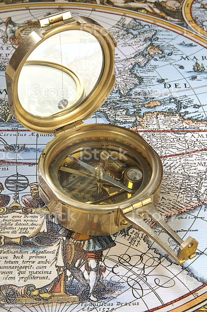 Old-fashioned compass royalty-free stock photo