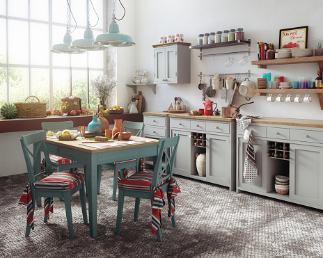 Digitally generated cozy and rustic domestic kitchen interior, with a lot of vintage ethnic props and kitchen utensils.  The scene was rendered with photorealistic shaders and lighting in Corona Renderer 6 for Autodesk® 3ds Max 2020 with some post-production added.