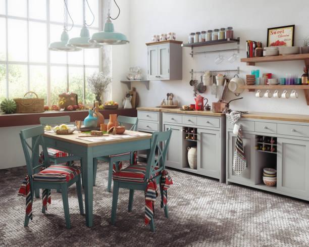 Old-Fashioned Domestic Kitchen Interior stock photo
