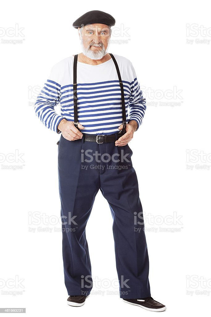 Old-fashioned funny man stock photo