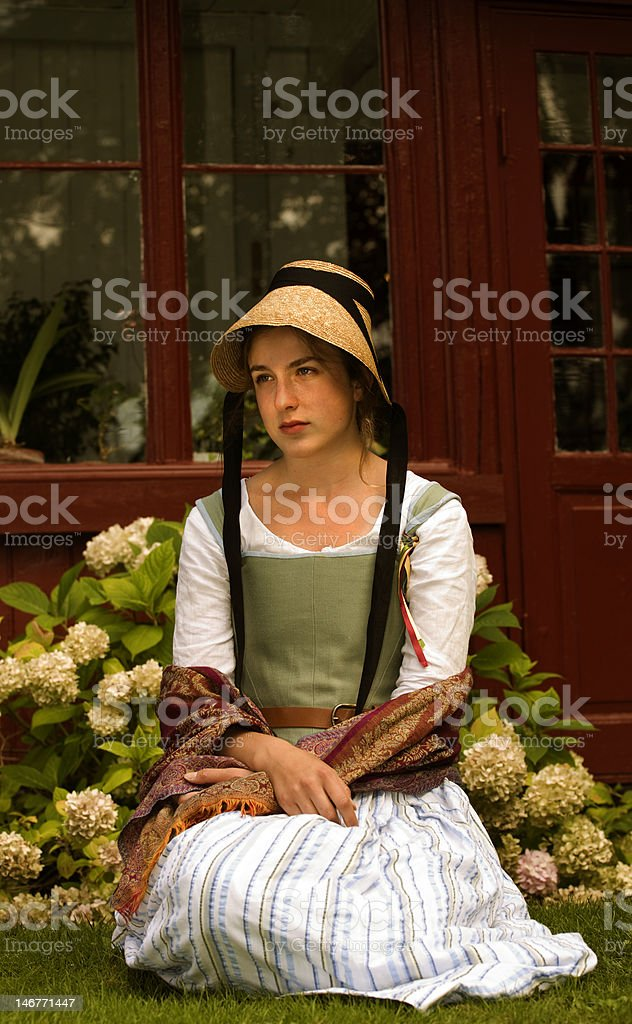 old-fashioned girl stock photo