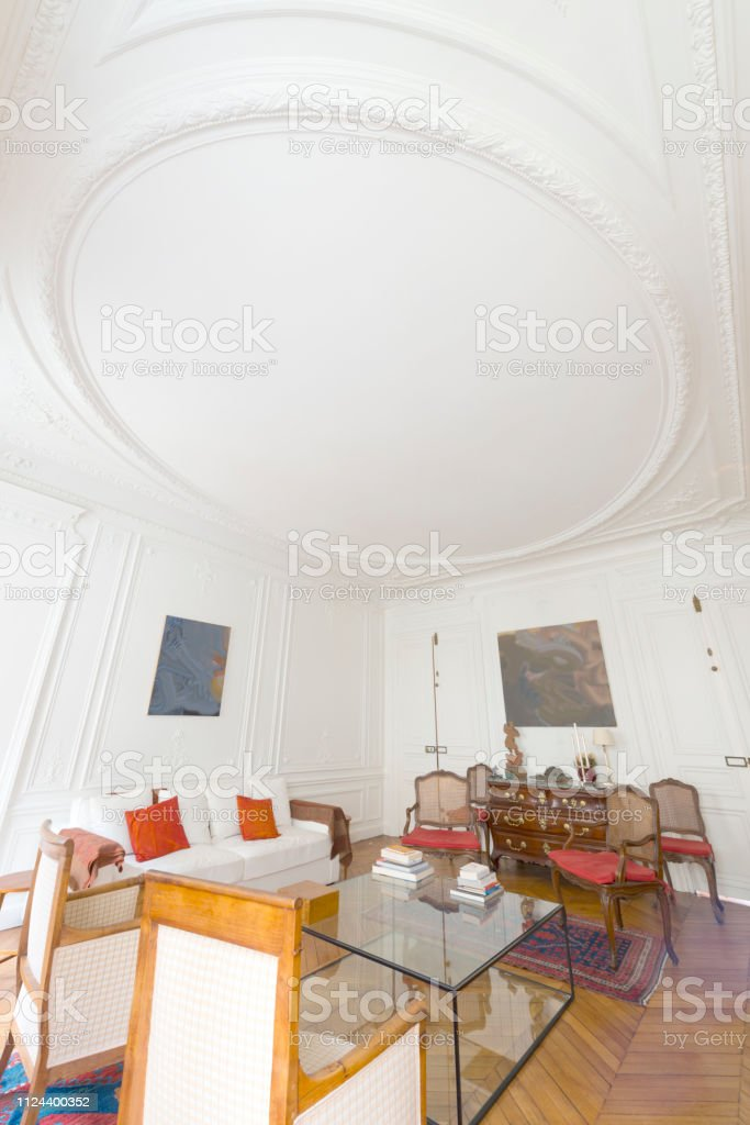 . Oldfashioned Living Room In A Parisian Apartment Stock Photo