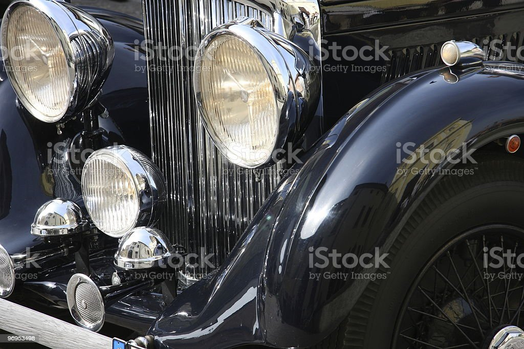 old-fashioned luxury black car royalty-free stock photo
