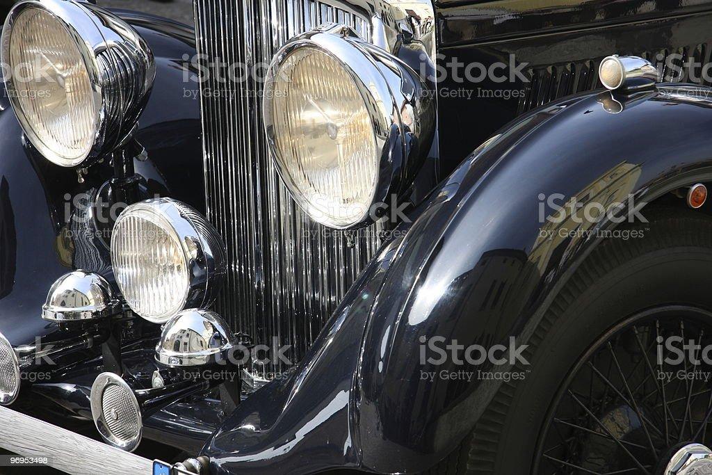 old-fashioned luxury black car stock photo